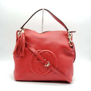 Authentic Gucci GG Leather Red Shoulder Bag